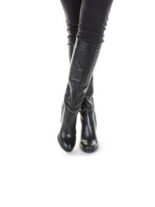 K655-G1514 N969 BLACK Сапоги демисезонные женские (натуральная кожа, байка)