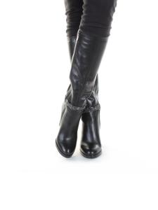 X858-G153RM N969 BLACK Сапоги зимние женские (натуральная кожа, натуральный мех (еврозима))