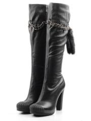 SU1506-16-V176 BLACK Сапоги демисезонные женские (натуральная кожа, байка)