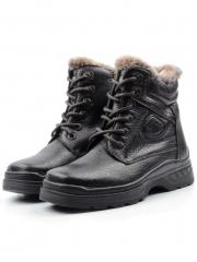 B8297B BLACK Ботинки зимние мужские (натуральная и искусственная кожа, иск. мех)