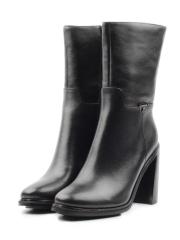2A282-05B-1 BLACK Полусапоги женские (натуральная кожа, байка)