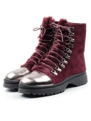 XT395-201-4M WINE RED Ботинки женские (натуральная замша, натуральный мех)
