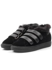 MM75-1 BLACK Ботинки зимние женские (натуральная замша, нат.мех)