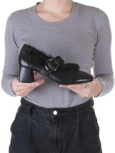 N18116P-2 BLACK Полуботинки женские (натуральная кожа)