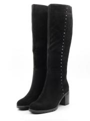 A581-899BM-2 BLACK Сапоги женские (натуральная замша, натуральный мех (еврозима))