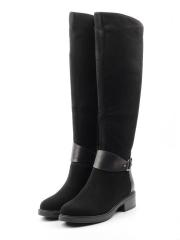 XE82-686BM-1 BLACK Сапоги женские (натуральная замша, натуральный мех (еврозима))