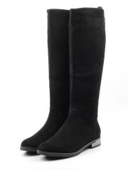 A483-11BM-2 BLACK Сапоги зимние женские (натуральная замша, натуральный мех (еврозима))