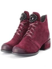 R181-3 BURGUNDY Ботинки зимние женские (натуральная замша, натуральный мех)