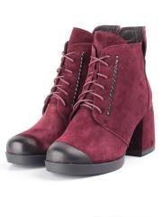 R179-3 BURGUNDY Ботинки зимние женские (натуральная замша, натуральный мех)