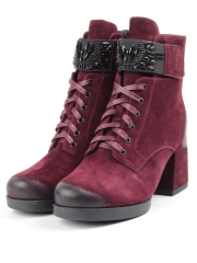 R135-2 BURGUNDY Ботинки зимние женские (натуральная замша, натуральный мех)