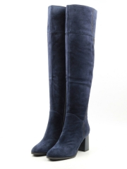 A150-20B220R-1 BLUE Ботфорты демисезонные женские (натуральная замша, байка)