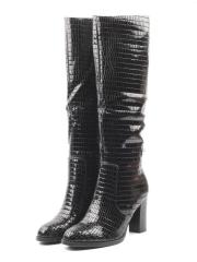 S205 BLACK Сапоги женские (натуральная кожа, натуральный мех (еврозима))