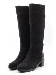 42A11 BLACK Сапоги женские (натуральная замша, натуральный мех (еврозима))