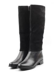 K983 BLACK Сапоги женские (натуральная замша, натуральный мех (еврозима))