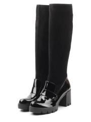 91-303-50-5 BLACK Сапоги демисезонные женские (натуральная замша, байка)
