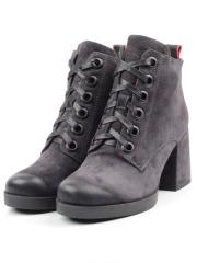 C617-4 GRAY Ботинки женские (натуральная замша, байка)