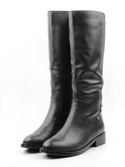 TBM75-1 BLACK Сапоги женские (натуральная кожа, натуральный мех (еврозима))
