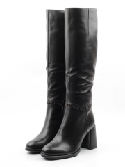 XE9-2B161BM-1 BLACK Сапоги зимние женские (натуральная кожа, натуральный мех (еврозима))