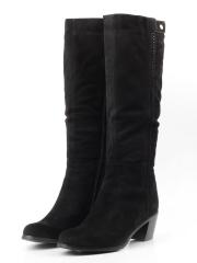 1006 DS296-16-79A BLACK Сапоги зимние женские (натуральная замша, натуральный мех (зима))