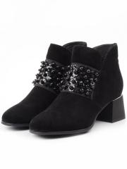 CGXM12-2R BLACK Ботинки женские (натуральная замша, байка)