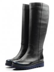 91-309-02-5 BLACK Сапоги женские (натуральная кожа, байка)