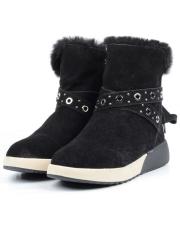 M916 BLACK Ботинки зимние женские (натуральная замша, искусственный мех)