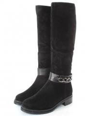 DM1757 BLACK Сапоги женские (натуральная замша, натуральный мех (евромех))
