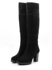 M18-394 C130 BLACK Сапоги зимние женские (натуральная замша, натуральный мех (еврозима))