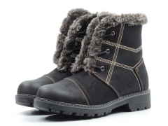 H835-1 BLACK Ботинки зимние женские (искусственная кожа, искусственный мех)