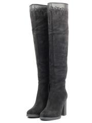 3351-22BM BLACK Ботфорты женские (натуральная замша, натуральный мех (еврозима))