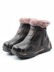T6617 BROWN Ботинки детские зимние (натуральная кожа, натуральный мех)