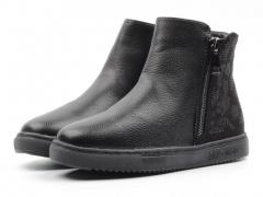 HW963-1 BLACK Ботинки зимние женские (искусственная кожа, искусственный мех)