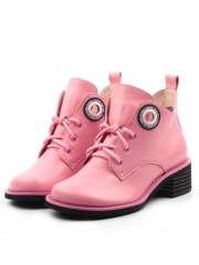 D1-2019 PINK Ботинки женские (натуральная кожа, байка)