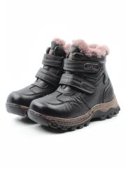 T6618 BLACK Ботинки детские зимние (натуральная кожа, натуральный мех)