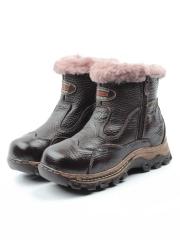 T6617-1 BROWN Ботинки детские зимние (натуральная кожа, натуральный мех)
