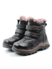 T6612 BLACK Ботинки детские зимние (натуральная кожа, натуральный мех)