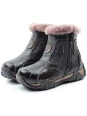 T6615 BLACK Ботинки детские зимние (натуральная кожа, натуральный мех)