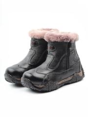 T6617 BLACK Ботинки детские зимние (натуральная кожа, натуральный мех)