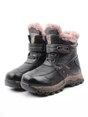 T6613 BLACK Ботинки детские зимние (натуральная кожа, натуральный мех)