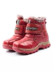 T6611 RED Ботинки детские зимние (натуральная кожа, натуральный мех)