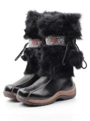 010 BLACK Сапоги зимние для девочки (натуральная кожа, натуральный мех)