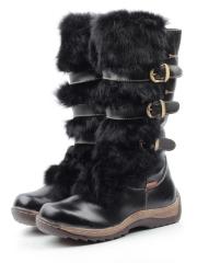 009 BLACK Сапоги зимние для девочки (искусственная кожа, натуральный мех)