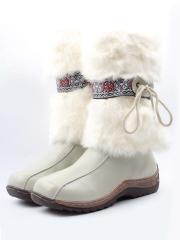 010 WHITE Сапоги зимние для девочки (натуральная кожа, натуральный мех)