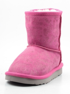 1990 PINK Угги зимние для девочки (натуральная замша, искусственный мех)