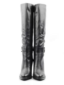 X655-T1640RM BLACK Сапоги зимние женские (натуральная кожа, натуральный мех (еврозима))
