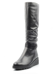 XG725-T15147RM BLACK Сапоги зимние женские (натуральная кожа, натуральный мех (еврозима))