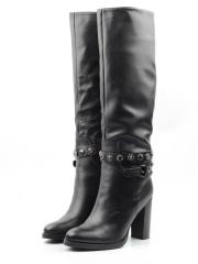 X858-G165RM N969 BLACK Сапоги зимние женские (натуральная кожа, натуральный мех (еврозима))