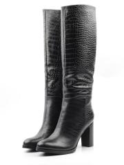 X655-L151RM BLACK Сапоги зимние женские (натуральная кожа, натуральный мех (еврозима))