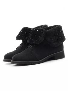 2265-B503M-N2 BLACK Ботинки женские (натуральная замша, нат.мех)