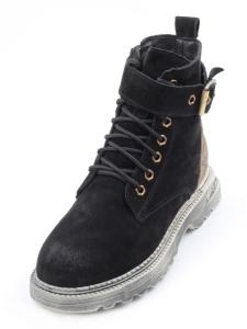 Y888-1 BLACK Ботинки женские (натуральная замша, искусственный мех)